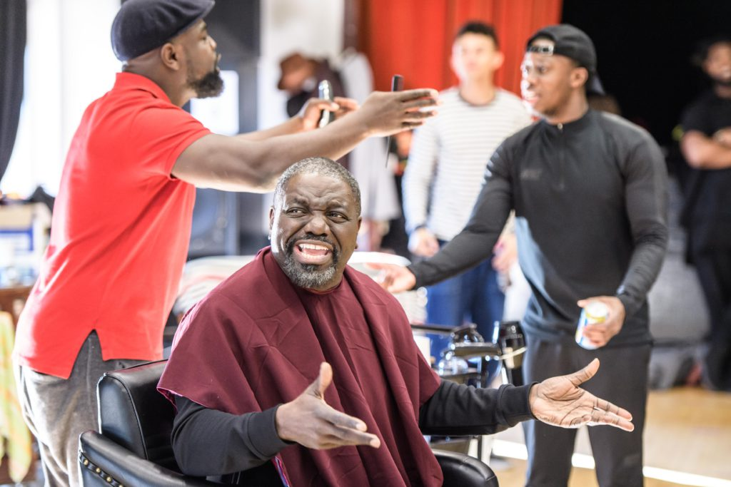 Barber Shop Chronicles in rehearsal at the Rose Lipman Building, London, UK