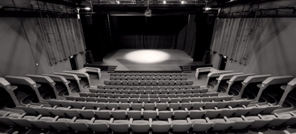 Black and White photo of the Space 1 theatre space showing seating and stage