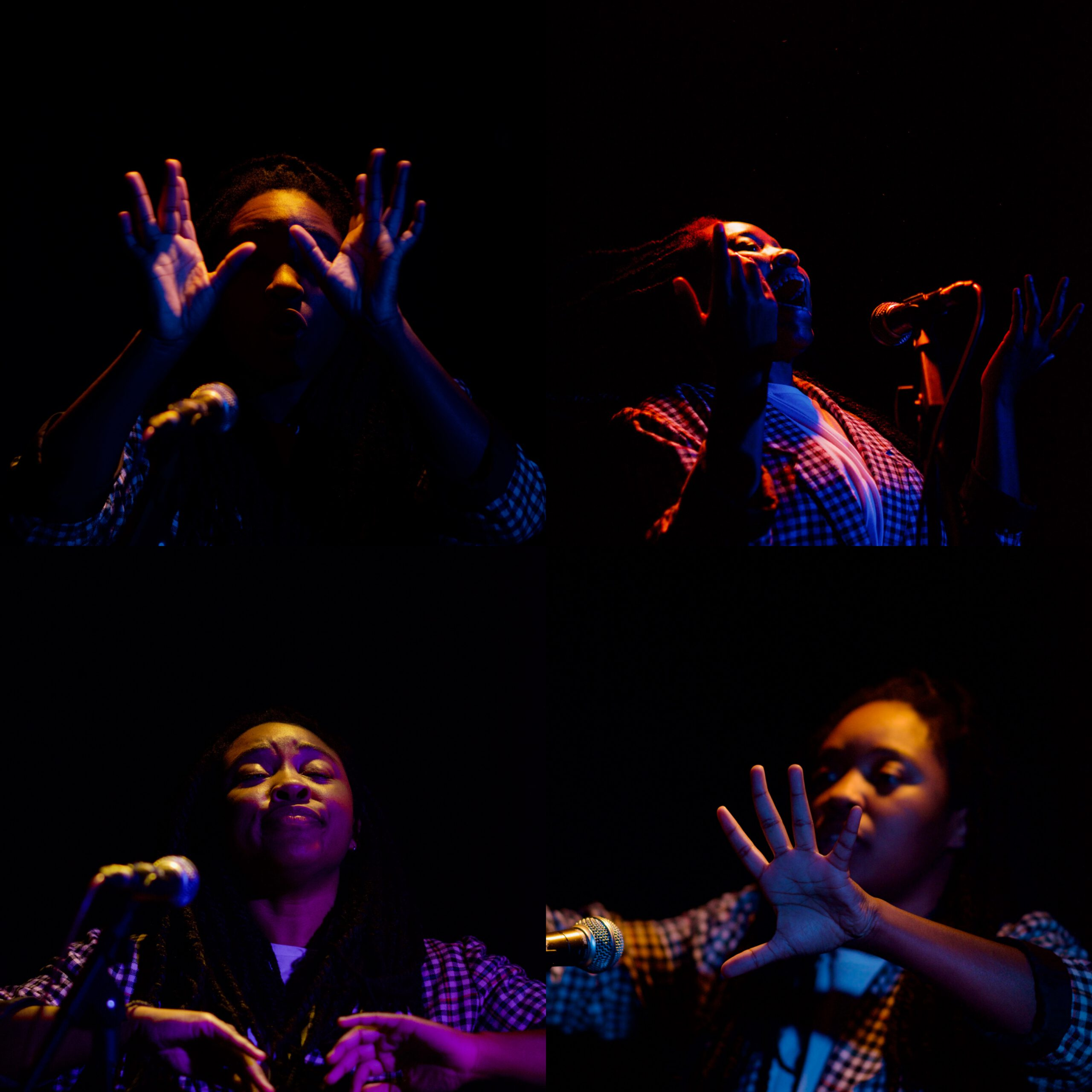 4 images of Xana middle of performing shots
