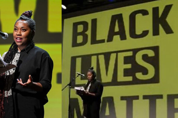 Keisha Thompson reads poetry against a yellow and black background that reads Black Lives Matter