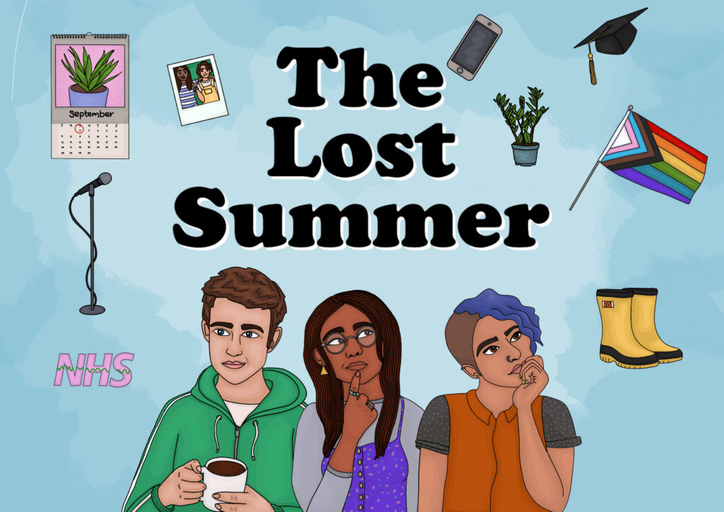 Three Illustrated people surrounded but objects including wellies, a microphone and a pride flag. Logo reads The Lost Summer