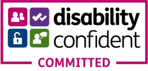 Logo reads: Disability confident committed