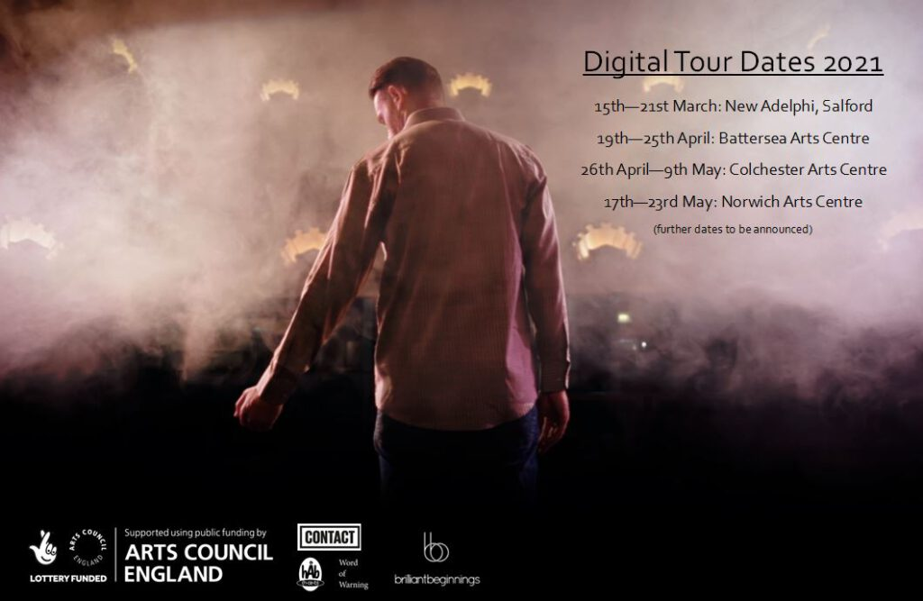Tour poster. A man stands with his back to the camera