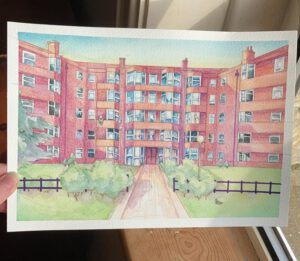 picture of apartment block by Hazel Gibson