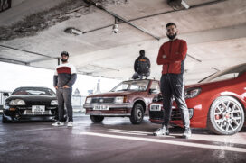 Peaceophobia performance - Three men and three cars in a covered car park