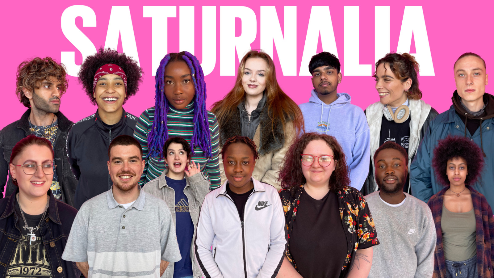 The cast of Saturnalia against a pink backdrop