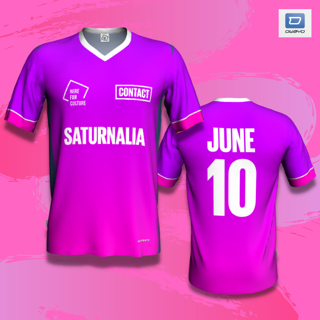 A pink football shirt with 'Saturnalia 10 June' and the Contact Logo